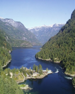 Malibu hydro will soon provide abundant clean energy for the camp. The beautiful Princess Louisa Inlet and camp taken from a helicopter, summer 2001.